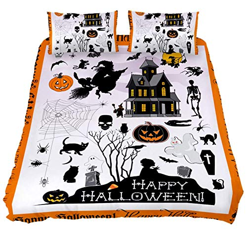 LORVIES Halloween Town Duvet Cover Sets Decorative 3 Piece Bedding Sets with Pillow Shams for Men Women Boys Girls Kids Teens]()