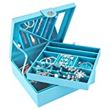 SMONET Huge Jewelry Box Organizer 28 Section Classic Holder 2 Layers - Women Girls Teens Storage Case for Earring Ring Necklace Bracelet Watch PU Leather with Lock Large Mirror Blue