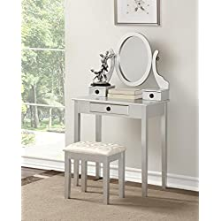 Roundhill Furniture 3415SL Moniys Wood Moniya Makeup Vanity Table and Stool Set, Silver