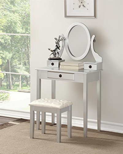 Roundhill Furniture 3415SL Moniys Wood Moniya Makeup Vanity Table and Stool Set, Silver by Roundhill Furniture