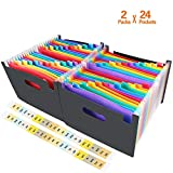 KIMHY Expanding File Folder, 2 Packs 24 Pockets Document Stand, A4 Accordion Filing Wallet, High Capacity File Organizer with Rainbow Tabs for Office, Home, School-Work on All A4 Size and Letter Size