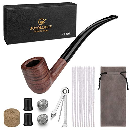 (Joyoldelf Churchwarden Tobacco Pipe, Rosewood Smoking Pipe with 3-in-1 Pipe Scraper, Cork Knocker, 10 Pipe Cleaners, 2 Pipe Bits, 2 Metal Balls, Bonus a Pipe Pouch & Gift Box)