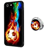 Case for iPhone 6s 6 case Flame Soccer With Ring Holder Slim Soft and Hard Tire Shockproof Protective Phone Cover Case Slim Hybrid Shockproof Protective Case Anti-Scratch Cushion Bumper with Reinforce