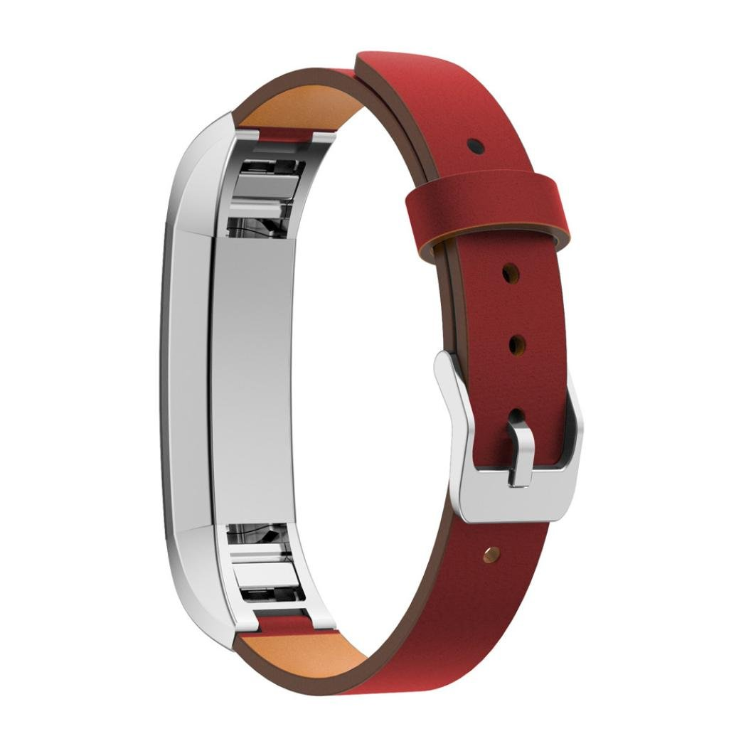 DDLBiz Fashion Replacement Luxury Genuine Leather Band Strap Bracelet For Fitbit Alta Tracker (Red)