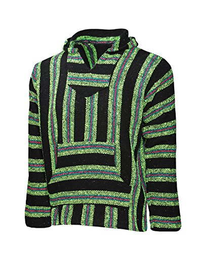 (El Paso Designs Mexican Style Baja Hoodie (Large, Bright Green))