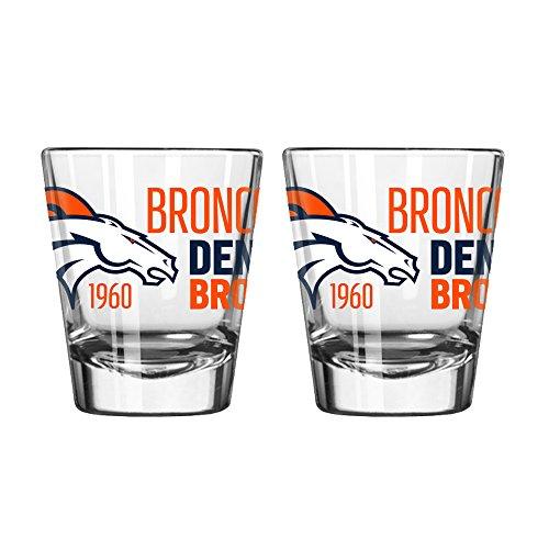 NFL Denver Broncos Spirit Shot Glass, 2-Ounce, 2-Pack