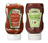 Heinz Sriracha Tomato Ketchup, 14 oz and Heinz Organic Tomato Ketchup, 14 Ounce (Bundle)