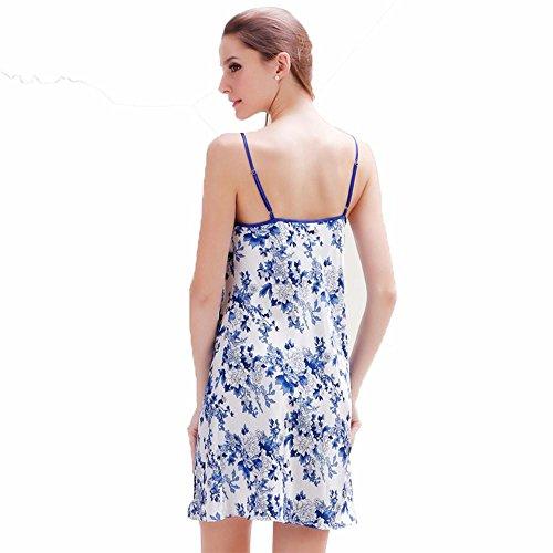 Modelo azul y blanco de porcelana Sra primavera y el verano de seda camisón de la honda estilo chino blue and white porcelain