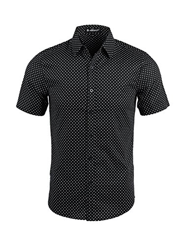 (uxcell Men Short Sleeves Button Up Cotton Polka Dots Shirt Medium Black)