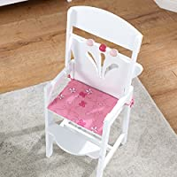 KidKraft 61101 Lil' Doll High Chair White and Pink Wooden High Chair, kitchen furniture accessory for 45cm 18 inch dolls