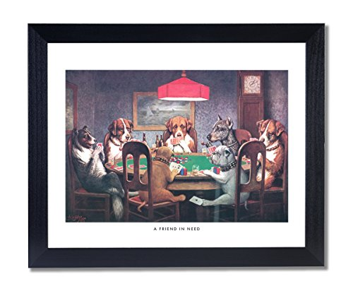 Dogs Playing Poker At Table Animal Picture Black Framed Art Print #1 Dogs Playing Cards Picture