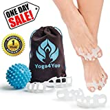 Toe Separators - Yoga Gel Toe Spacers - Toe Spreaders for Bunion - Hummer Toe Straightener - Overlapping Toes Stretcher Alignment - Foot Pain Relief - Spiky Massage Ball Set - Soft Silicone Men Women