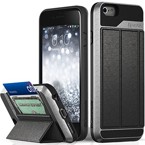 (iPhone 6S Wallet Case, Vena [vCommute][Drop Protection] Flip Leather Cover Card Slot Holder with Kickstand for Apple iPhone 6 6S (Space)