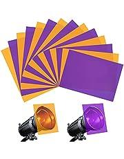 Halloween Gel Filter, 14 Pcs Pruple Orange Correction Gels Light Filter, A4 Size Colored Overlays Transparency Film Plastic Sheets for Led Light, Reading or Outdoor Landscape