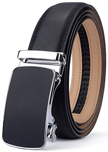 Men's Belt,Bulliant Slide Ratchet Belt for Men with Genuine Leather 1 3/8,Trim to - New Buckle Black Look Wet
