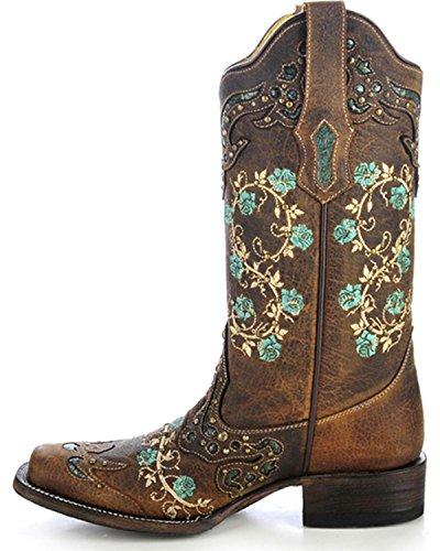 Corral Mujeres Con Tachuelas Bordado Floral Cowgirl Bota Square Toe - R1373 Brown