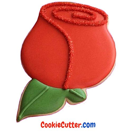 Red Rose Plastic Cookie Cutter 3.5