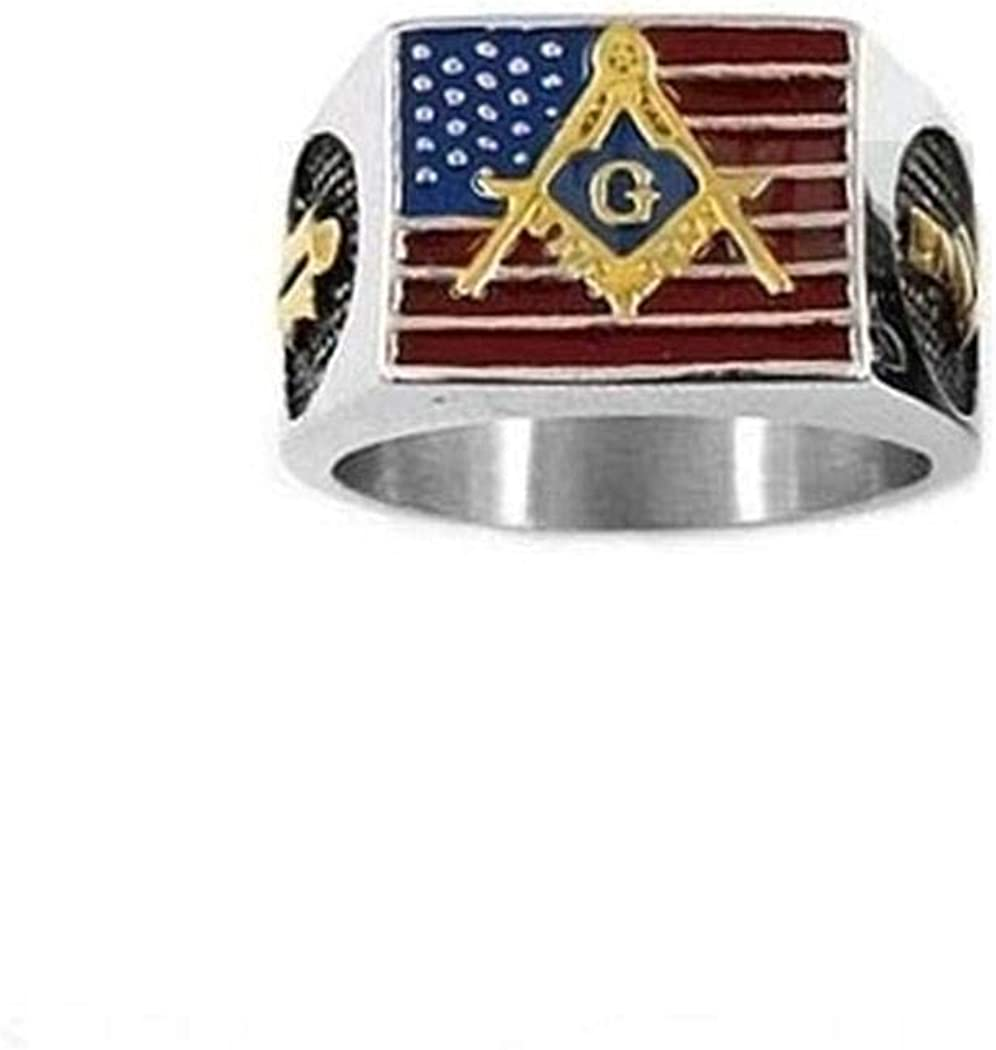 JEWURA Biker Ring American Flag and Masonic on White Stainless Steel Jewelry