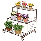 3 Tier Decorative Bronze Metal Plant Stand / Planter Holder / Multi Planter Flower Pot Racks - MyGift®