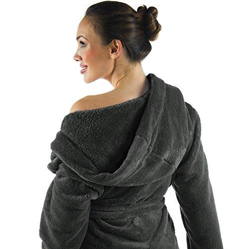 33f97984834eca CelinaTex Korfu Damen Bademantel mit Kapuze XS bis XXXL Sherpa Fleece kurzer  Morgenmantel Saunamantel Kimono: Amazon.de: Bekleidung