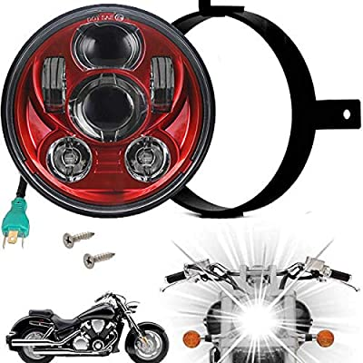 Eagle Lights 5.75 inch LED Headlight Kit for Honda VTX with Bracket and Hardware replacement for VTX 1300 & 1800 - Plug and Play - Red (Generation III): Automotive