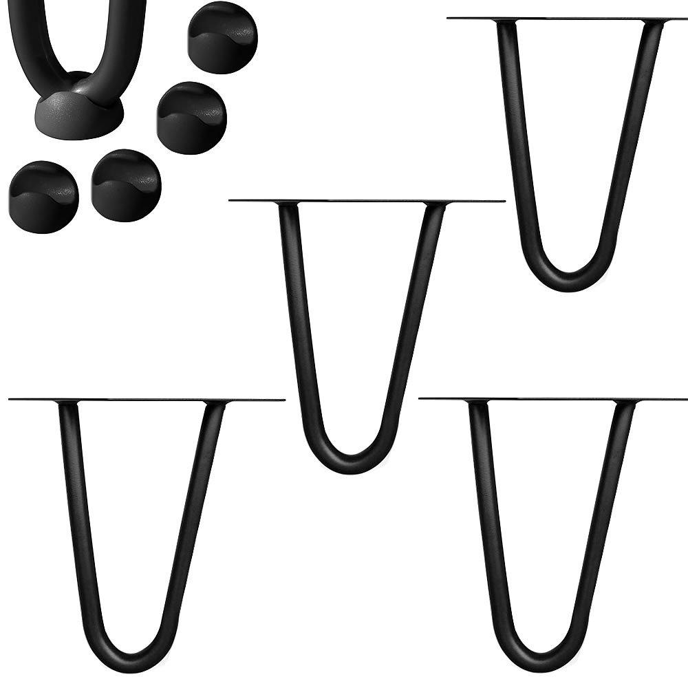 Melko/® 4 St/ück Hairpin Legs mit Gummi Bodenschoner schwarz 71cm hoch Vintage und Industrial Look schlanke Tischbeine aus Stahl