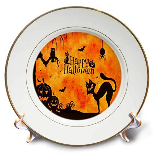 3dRose Sandy Mertens Halloween Designs - Cat, Owl, Bats, Spider, Jack o Lanterns Silhouettes, 3drsmm - 8 inch Porcelain Plate (cp_290231_1) ()
