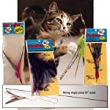 Da Bird Super Pack (Includes 1 Da Bird Original 36″ Single Pole Cat Toy, Feather Refill, Sparkly Attachment, Kitty Puff Attachment, and Peacock Feather)