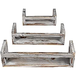 Cade Floating Shelves-Wall Shelf-Floating Shelf-Wall Shelves-Rustic Wall Mount Shelf for Room and Office (Medium, 3pack-Brown)