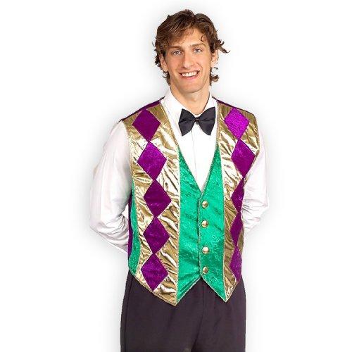 Forum Mardi Gras Vest, Green/Gold/Purple, Adult (Mens Mardi Gras Costumes)