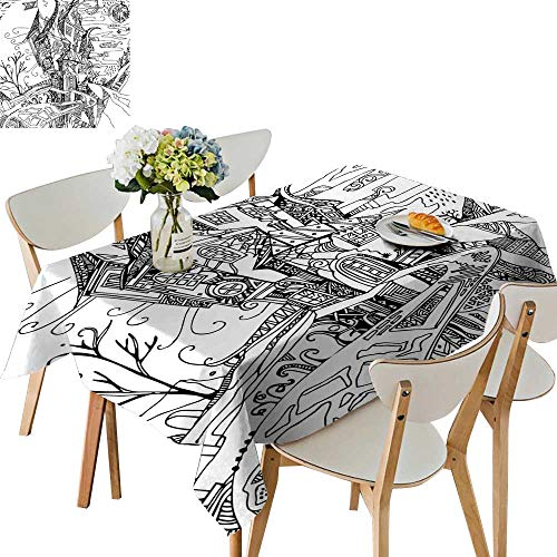 UHOO2018 Square/Rectangle Polyesters Tablecloth Image House Like Castle Halloween Themed Image Black and White Wedding Party,50 x -