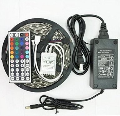 GenLed 2016 Newest 16.4-Feet SMD 5050 5M Waterproof 300LEDs RGB Flexible LED Strip Light Lamp Kit with 44 Key IR Remote Controller W/ 12V 5A Power Supply Adapter by GenLed