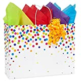 Rainbow Confetti Paper Shopping Bags - Vogue Size - 16 x 6 x 12 1/2in. - 150 Pack