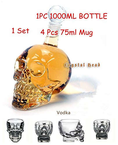 Pack of 5 Skull Shot Glass 75ML X 4 + Skull Glass Bottle Wine Decanter 1000ml X1 TMG