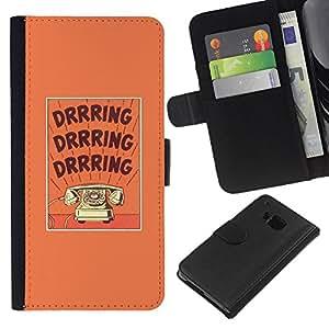 Stuss Case / Funda Carcasa PU de Cuero - Texto de teléfono púrpura texto Rotary - HTC One M7