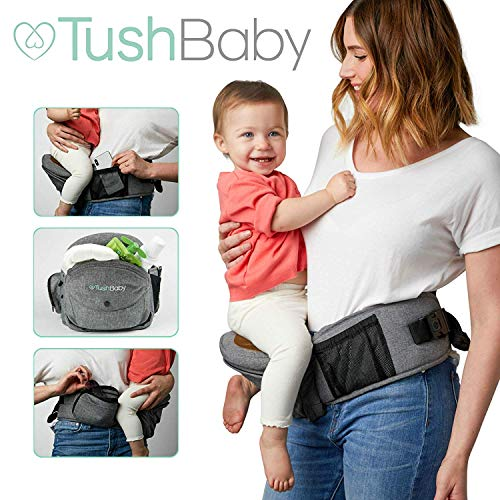 TushBaby The Only Safety Certified Hip Seat Baby Carrier - Large Storage Pockets, Adjustable, Machine Washable, Ergonomic Child + Infant + Toddler Carrier, Safe + Ultra-Comfortable Waist Carrier Black