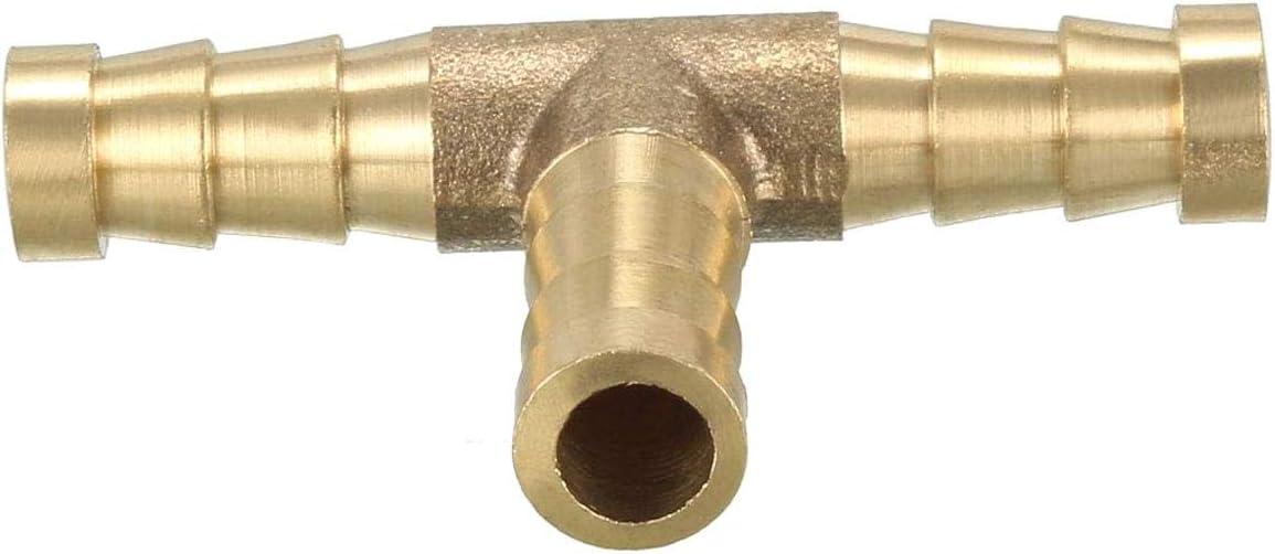 Insmart Conector en T de 3 v/ías Tubos de lat/ón con conexi/ón de Manguera para Agua Combustible Gas 6 mm