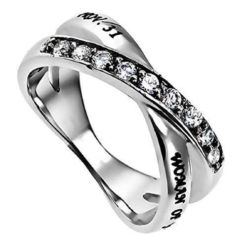Woman Of God Proverbs 31 Radiance Ring Silver Stainless Steel With CZ Stones Twin Band