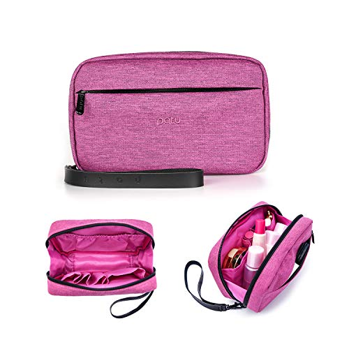 Patu Handy Beauty Stuff Carry Case, Makeup Cosmetic Bag, Women Facial Cleanser Skincare Kit Pouch, Pencil Clutch, Portable Electronics Accessories Organizer, Magenta