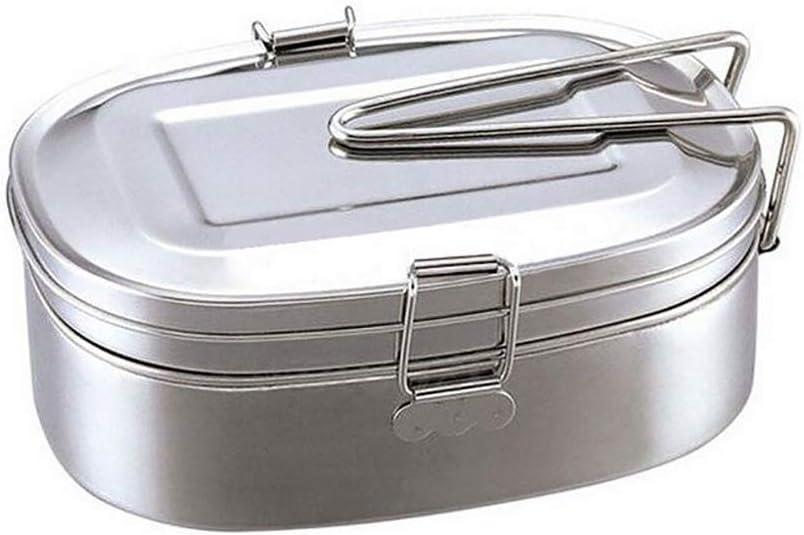 Lsgepavilion Fiambrera clásica de doble capa Bento de acero inoxidable para almacenamiento de alimentos para estudiantes