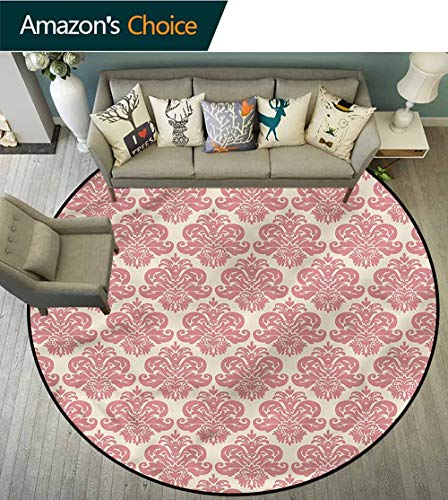 RUGSMAT Dusty Rose Round Area Rugs Bedroom,Antique Damask Motifs Door Mat Indoors Bathroom Mats Non Slip ()