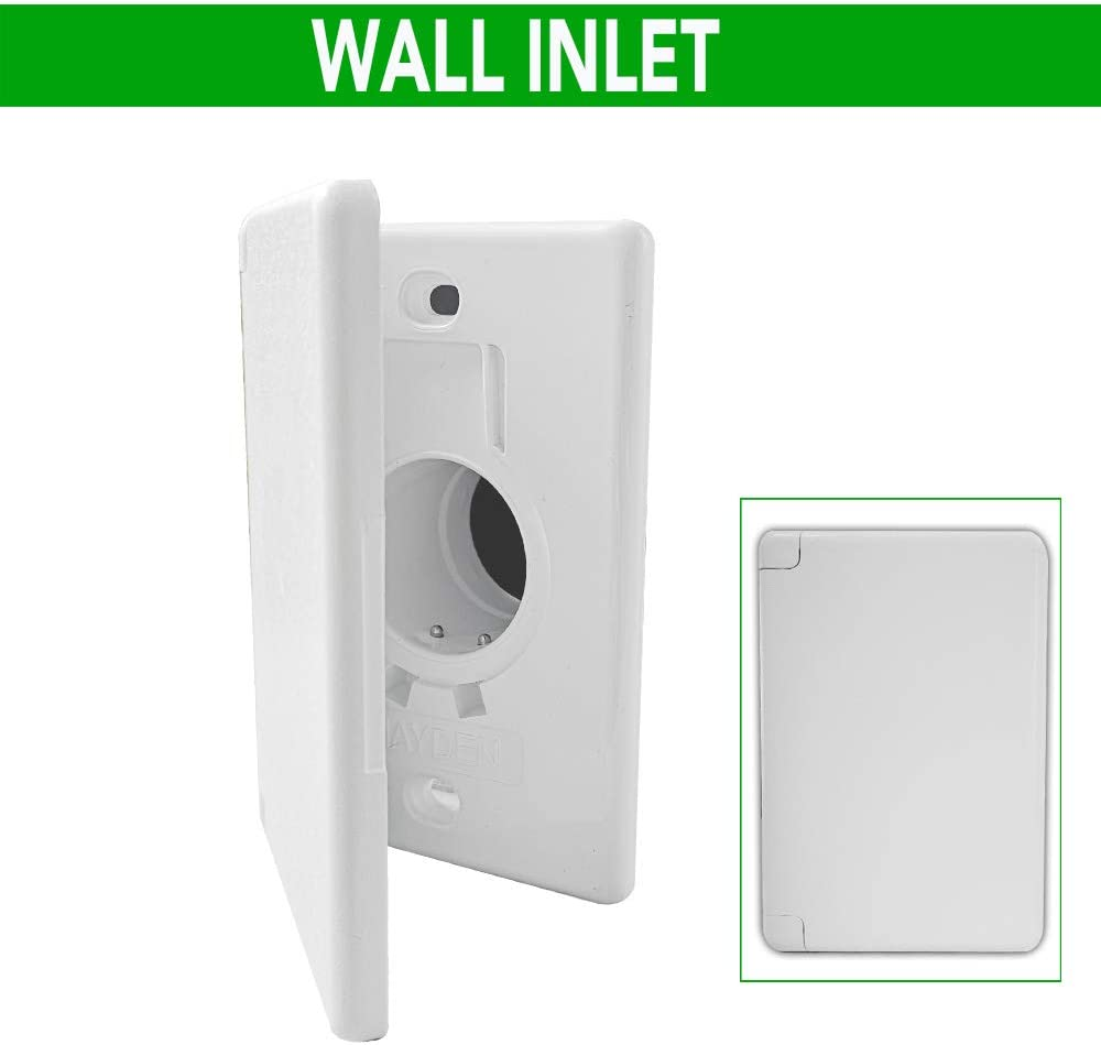 OVO Standard Central Vacuum Wall Inlet for Hose, Side Door Style, White