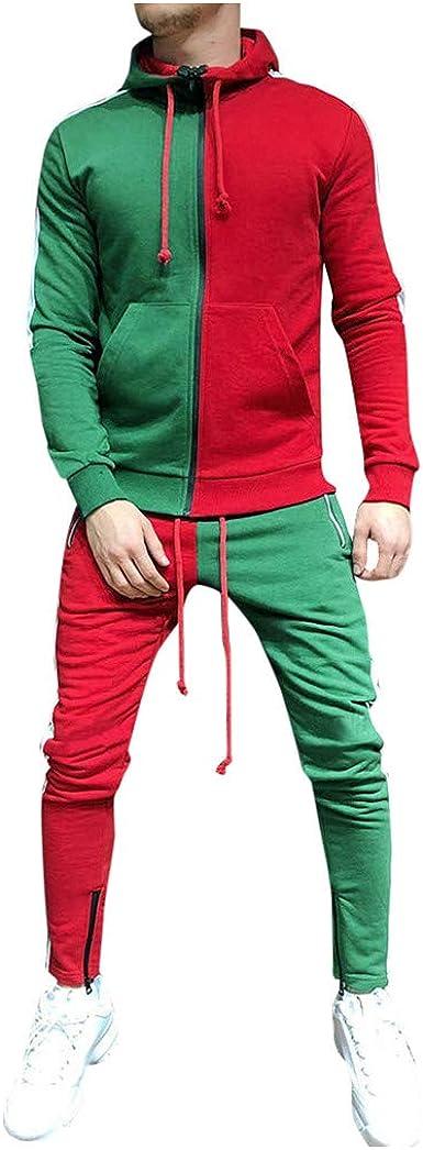 MISSWongg Conjuntos Deportivos para Hombres Stitching Color ...
