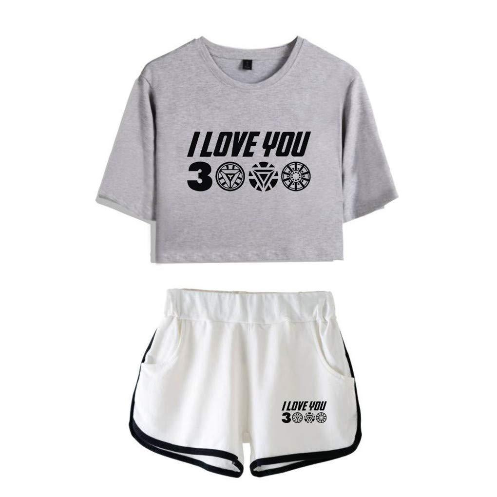 Memoryee I Love You 3000 Times Stampato Crop Top Maglietta e Shorts Abbigliamento Set 2 Pezzi Tute Outfit per Ragazze e Donne Sportswear