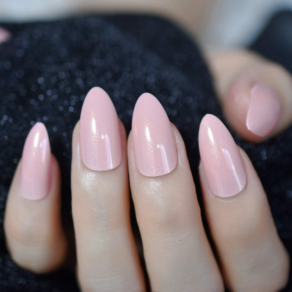 Amazon.com : CoolNail Nude Pink Pointed Stiletto Sharp False Nail Art Tips Shimmer Gold Glitter Oval Almond Full Fake Nails Press on Finger Manicure : ...