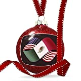 Christmas Decoration Friendship Flags USA and Mexican Ornament