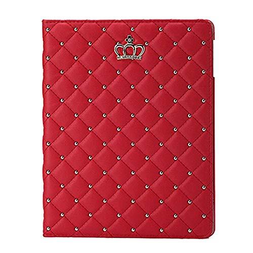 Topwin iPad 9.7 2018 2017/iPad Air 2/iPad Air Case,Crown Bling Diamond Cute Elegant PU Leather Smart Auto Sleep/Wake Stand Shockproof Case for Apple iPad 9.7 iPad 5th / 6th/iPad Air 2/1(Red-No Buckle)