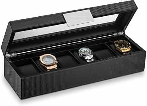 Glenor Co Watch Box for Men - 6 Slot Luxury Carbon Fiber Design Mens Display Case, Large Holder,Metal Buckle -Black