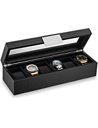 Watch Box for Men - 6 Slot Luxury Carbon Fiber Design Mens Display Case, Large Holder,Metal Buckle -Black