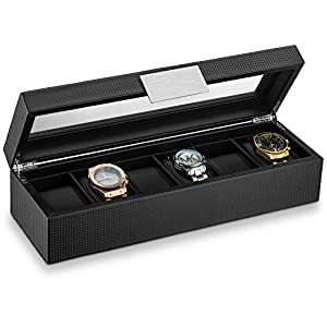 Glenor Co Watch Box for Men – 6 Slot Luxury Carbon Fiber Design Mens Display Case, Large Holder,Metal Buckle -Black